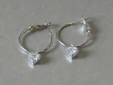 Sparkly Rhinestone Heart Drops Leaver Back Hoop Platinum Plated Earrings Nice!