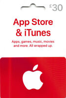 iTunes Gift Card £30 GBP UK British Apple App Store  Code £30 Pound