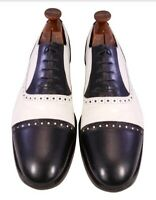 VINTAGE STACY ADAMS MADISON CAPTOE SHOES OXFORDS SIZE 13 M BLACK WHITE LEATHER