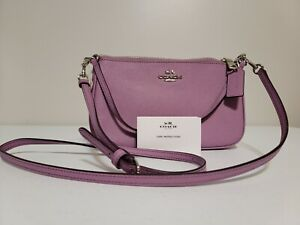 NWT COACH Top Handle Leather Crossbody Lilac Lavender Light Purple Silver F25591