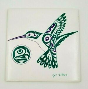 "Joe Wilson ""The Hummingbird"" Coast Salish Island Art Ceramic Hanging Tile/Plaque"