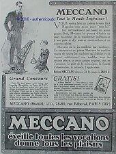 PUBLICITE MECCANO JEU DE CONSTRUCTION JOUET LA GRUE DE 1926 FRENCH AD PUB RARE