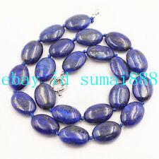 Fashion 13x18mm Blue Egyptian Lapis Lazuli Oval Gemstone Beads Necklace 18'' AAA