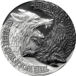 2021 - Niue $2.00 - Two Wolves - (32mm) high relief -1oz .999 silver coin w/OMP.
