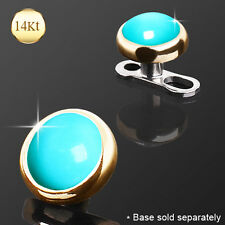 14K Solid GOLD Turquoise Stone Dermal Anchor Top Rings Studs PIERCINGS Jewelry