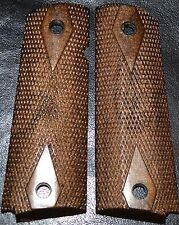 1911 compact pistol grips dark brown double diamond pattern plastic