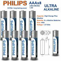 8x PHILIPS AAA ULTRA POWER ALKALINE BATTERIES - LR03 MX2400 MN2400 MICRO LOT UK