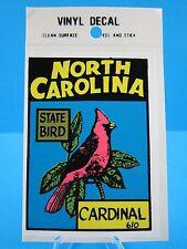 "VINTAGE... ""NORTH CAROLINA"" - STATE BIRD THE CARDINAL... STICKER / DECAL ""L@@K"""