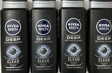 *NEW* LOT OF 4 NIVEA For Men **DEEP ACTIVE CLEAN** Body Wash *FREE SHIPPING*