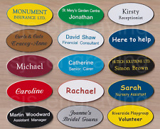 Quality Engraved LARGE OVAL name badges - MAGNETIC / PIN BACK - CHOICE OF FONT
