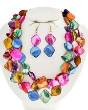 THREE STRAND MULTI COLOR MOTHER OF PEARL SHELL NECKLACE EARRING
