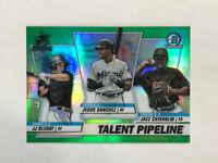 JJ BLEDAY 2020 Bowman Chrome Talent GREEN SP RC REFRACTOR /99! w/ CHISHOLM!
