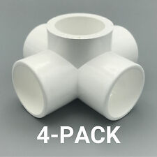 "1-1/4"" inch 5-Way Cross PVC Fitting Connector Elbow - 4-Pack - PB1255W-4P"