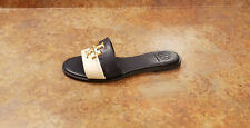 New! Tory Burch 'Everly' Slide Sandals Blue Ivory Leather Womens 6.5 M MSRP $228