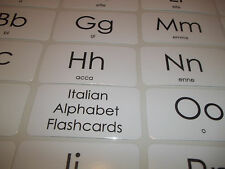 Italian Alphabet Flashcards. Preschool Foreign Language laminated flashcards.