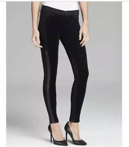 J BRAND Nicola Skinny Velvet Lamb Leather Side Panel Ankle Jeans W27