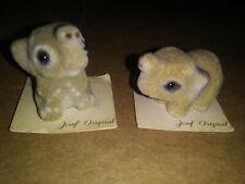 "Vintage Josef Original Baby Elephants 1"" set flocked and fuzzy on original cards"
