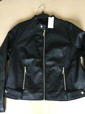 "Ladies Black Faux Leather Tab Collar Biker Jacket Size 18 (21"") ... NWT"