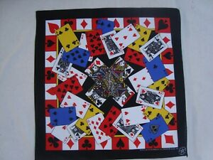 """PLAYING CARDS Bandana 22"""" x 22""""  Cotton/Poly Sewing/Crafts/Quilting USA"""