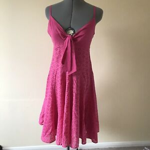 Ladies Summer Dress Pink Floral Size 10 Pink Tie Front Vintage Y2K 2000s 90s