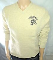 Abercrombie & Fitch MUSCLE Sweater V-neck Wool Long sleeved Beige/Gray Size XL