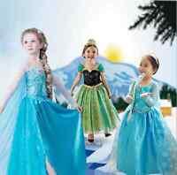 Hot Nice Girls Dresses Elsa Frozen dress costume Princess Anna party dress 3-8T