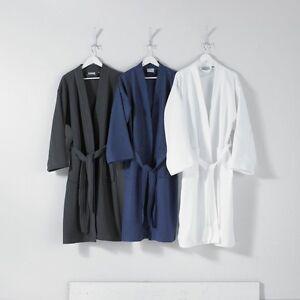 UNISEX BATH ROBE 100% PURE COTTON KIMONO WAFFLE LIGHTWEIGHT DRESSING GOWN