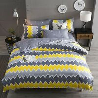 2018 Yellow And Gray Bedding Set Duvet Cover+Sheet+Pillow Case Four-Piece hot