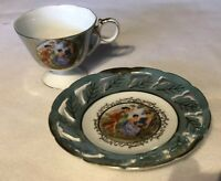 Royal Halsey Very Fine China Tea Cup And Saucer Cut Out  Vintage  Green Gold