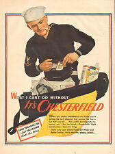 1943 WW2 era AD CHESTERFIELD Cigarettes  Sailor BM3 with mail and smoke 021217
