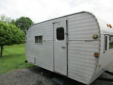 VINTAGE 56' FAN TRAVEL TRAILER ALUM CANNED HAM AIRSTREAM 14ft PROJECT NO RESERVE
