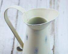 """Decorative country farmhouse distressed ivory 6"""" tall pitcher vase with handle"""
