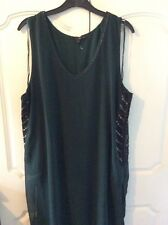 Womens Ladies Next Tunic Size 16 Green V Neck Embroidered Embellished Polyester