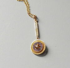 Vintage Antique Victorian Gold Diamond Filigree Lavalier Pendant Necklace