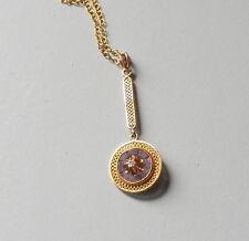 Vintage Antique Victorian Gold Diamond Filigree Lavalier Pendant Necklace