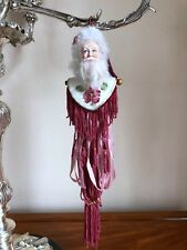 "Santa Claus Wine Tassel 11"" White Pink Red Burgundy Green Gold Jingle Bell"