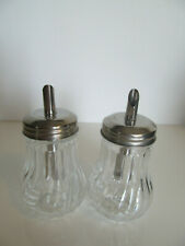 2 x American Vintage Diner Style Glass Sugar& Salt Dispenser Stainless Steel Top