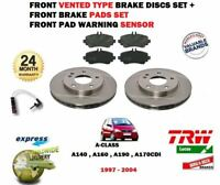 FOR MERCEDES A CLASS W168 1998-2004 FRONT VENTED BRAKE DISC SET + PADS + SENSOR