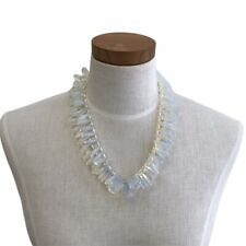 """Rebecca Collins Necklace Sterling Silver Freshwater Pearl Opalescent Glass 18"""""""