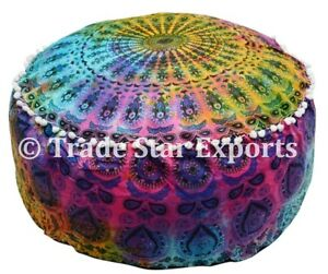 Tie Dye Pouf Cover Mandala Roundie Seating Ottoman Cover Cotton Footstool Case