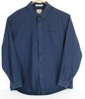 L.L. Bean Men XL Chamois Blue Black Check Button Front Shirt Traditional Fit L/S
