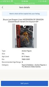 Bruce Lee Dragon Lives ASCENSION OF DRAGON Closed Mouth Variant Art Asylum NIP