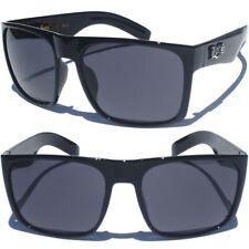 LOCS SUNGLASSES Men's Shades Rectangular Design Black Big Bold Frame Flat Top