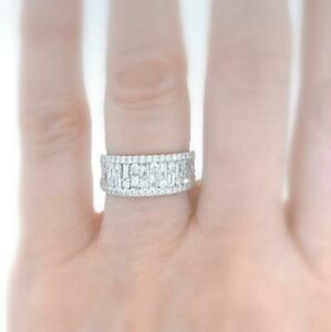 VS1 Natural 2.02ct Diamond Anniversary Ring Baguette 18k White Gold Band