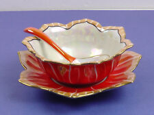 Stunning Rare Antique Noritake 'M' Morimura, 3pce Soup Bowl, Underplate & Spoon