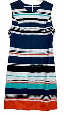BNWT David Jones Womens Blue Striped Sleeveless Shift Dress Size 18
