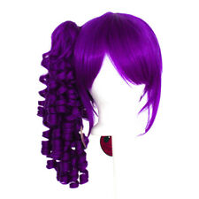 18'' Ringlet Pony Tail + Base Indigo Purple Cosplay Lolita Wig NEW