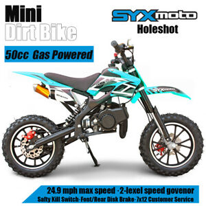 SYXMOTO Kids Mini Dirt Bike Gas Power 2-Stroke 49cc Motorcycle Beginner, Teal