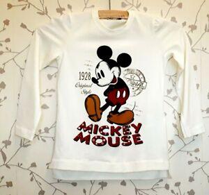 Monnalisa Size 116 Age 6 Designer Mickey Mouse Disney Cream Long Sleeve T Shirt