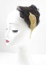 Schwarz & Gold Pfauenfeder Kopfschmuck Stirnband Vintage 1920s Flapper Deko V86